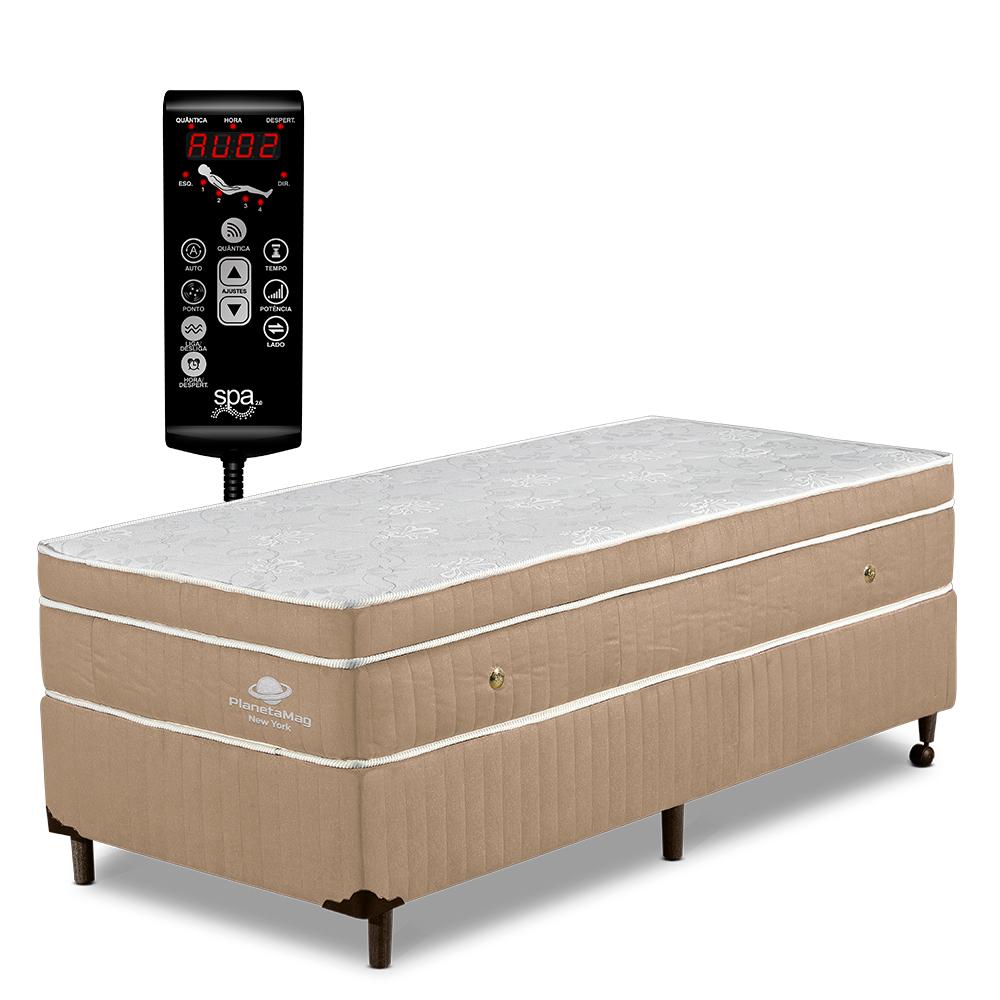 Colchão Magnético Solteiro com Base Box, Vibromassagem e Terapêutico Modelo New York